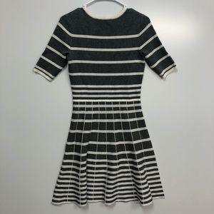 Danny & Nicole gray & white stripe sweater dress S